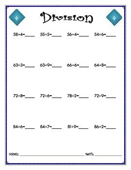 Division Worksheet - 2 x 1