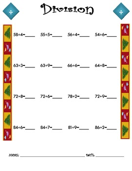 Division Worksheet - 2 x 1 CHRISTMAS THEME