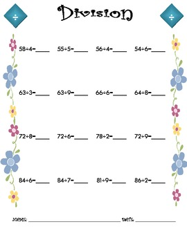 Division Worksheet - 2 x 1 SPRING THEME
