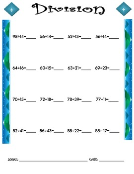 Division Worksheet - 2 x 2 WINTER THEME