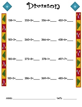 Division Worksheet - 3 x 1 CHRISTMAS THEME