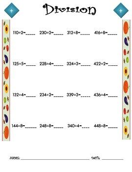 Division Worksheet - 3 x 1 FALL THEME