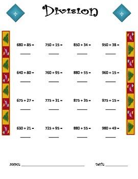 Division Worksheet - 3 x 2 CHRISTMAS THEME