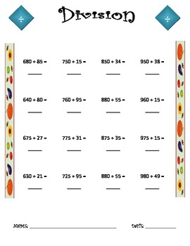 Division Worksheet - 3 x 2 FALL THEME