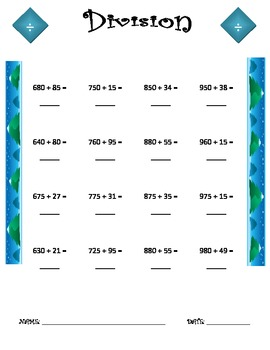 Division Worksheet - 3 x 2 WINTER THEME