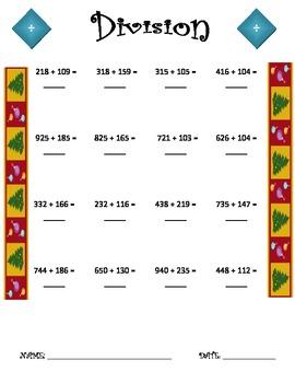 Division Worksheet - 3 x 3 Christmas THEME