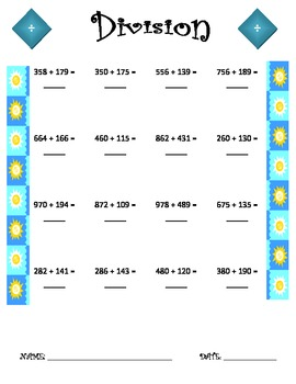 Division Worksheet - 3 x 3 SUMMER THEME