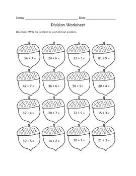 Division Worksheet : Fall Theme FREE