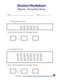 Division Worksheet - Forming Equal Groups