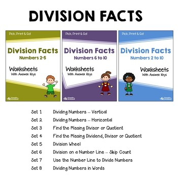 Dividing Whole Numbers - Facts and Long Division Worksheets With Answer Keys