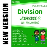 Dividing Multi-Digit Numbers - Facts And Long Division Worksheets