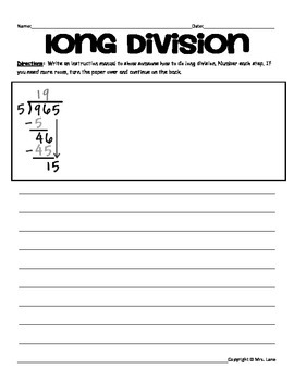 Division Writing Prompt Worksheets