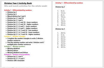 Division Year 2 Activity Bank (Differentiated)