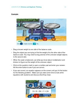 Division and Algebraic Thinking - Lesson Plan for 3rd grade