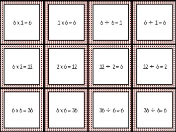 Division and Multiplication Fact Family Cards