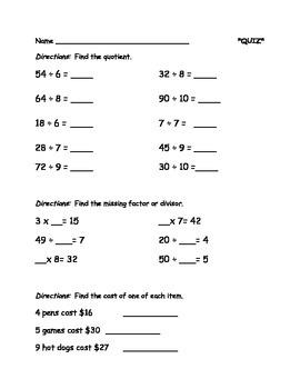 Division and Multiplication QUIZ