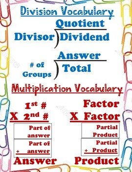 Division and Multiplication Vocabulary