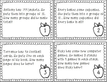 Division and Multiplication Word Problem Task Cards
