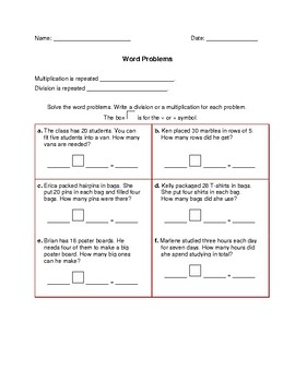 Division and Multiplication Word Problems