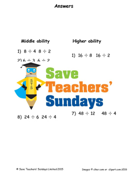 Division Arrays Worksheets (4 levels of difficulty)