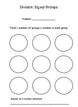 Division as Equal Groups Work Mat and Practice