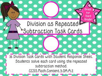 Division as Repeated Subtraction Task Cards