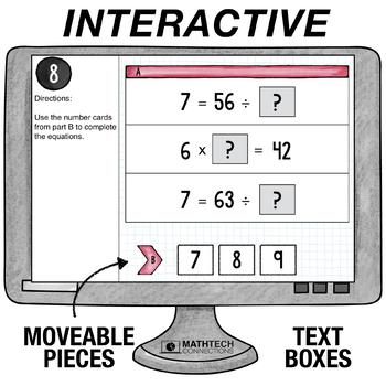 Division as an Unknown Factor Problem - 3rd Grade Digital Math Center
