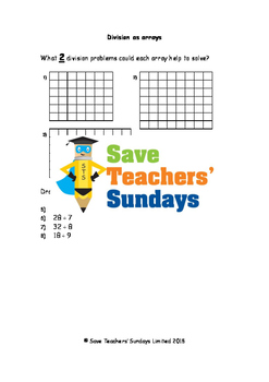 Division as arrays worksheets (2 levels of difficulty)