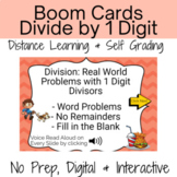 Division by 1 Digit Word Problems Digital Task Cards Activity with Boom Cards