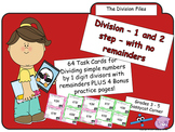 Division by 1 digit - 1 and 2 step division with no remainders task cards