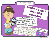 Division by 1 digit - 1 and 2 step division with remainders task cards