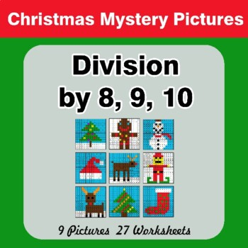 Division by 8 / Division by 9 / Division by 10 - Christmas Math Mystery Pictures