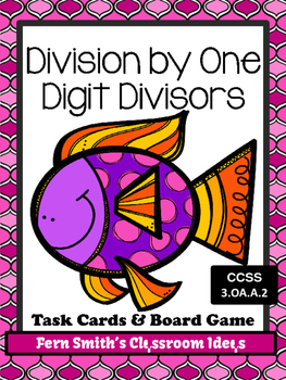 Division Task Cards and Board Game for Dividing by One Digit Divisors