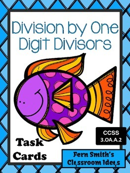 Division Task Cards for Division by One Digit Divisors Ocean Themed