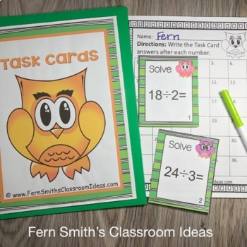 Division Task Cards and Recording Sheet Owl Themed