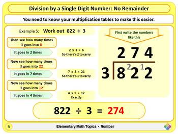 Division by a Single Digit Number for Elementary School Math