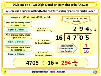 Division by a Two Digit Number for Elementary School Math