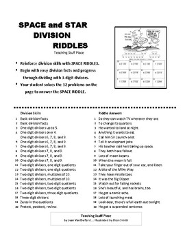 DIVISION PROBLEMS  SPACE and STAR Riddles  MATH  Color  Grades 3-4 Practice
