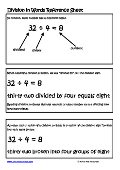 Division in Words Lesson for Interactive Math Notebooks