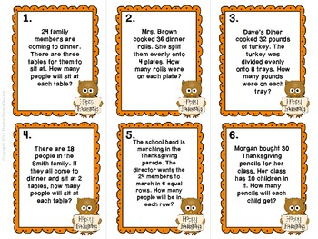 Division is a HOOT! Thanksgiving Division Task Card Kit-3rd Grade Common Core