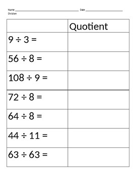 Division matching problem to quotient