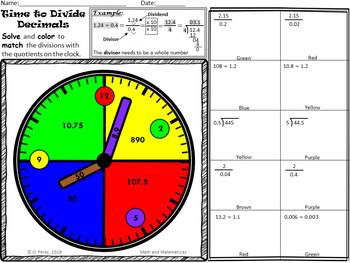 Division of Decimals Coloring by Number