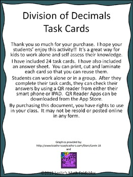Division of Decimals TASK Cards Using QR Codes