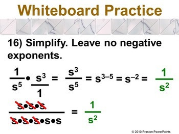 Division of Exponents in a PowerPoint Presentation