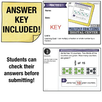 Multiplying Fractions - 5th Grade Math Center for use with Google Classroom™