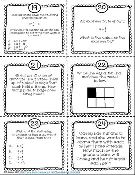 Dividing Fractions CCSS Task Cards and Worksheets