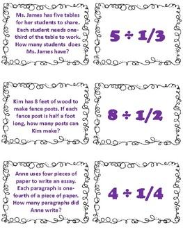 Division of Fractions Matching Cards