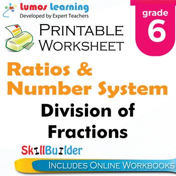 Division of Fractions Printable Worksheet, Grade 6