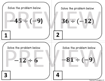 Division of Integers Task Cards