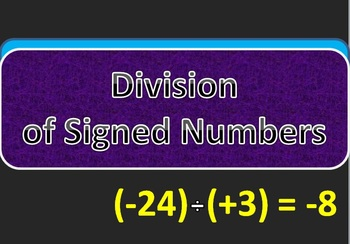 Division of Signed Numbers PowerPoint Flashcards